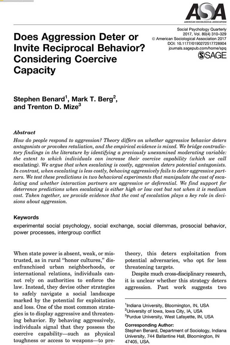 Does Aggression Deter or Invite Reciprocal Behavior? Considering Coercive Capacity