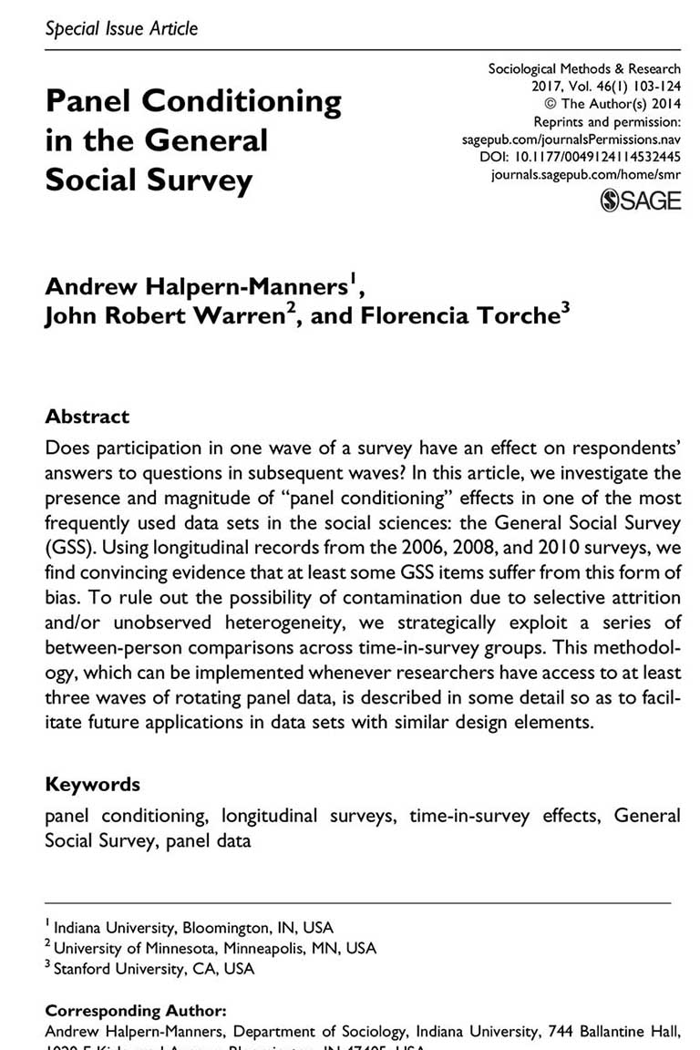 Panel Conditioning in the General Social Survey